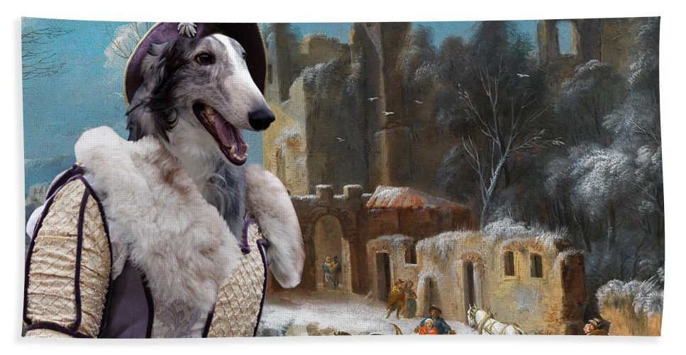 Borzoi Bath Sheet featuring the painting Borzoi - Russian Wolfhound Art Canvas Print by Sandra Sij