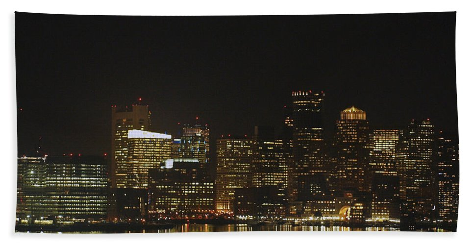 America Hand Towel featuring the photograph Boston Harbor by Howard Stapleton