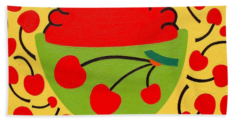Bowl Of Cherries Bath Towel featuring the painting Bowl Of Cherries by Patrick J Murphy