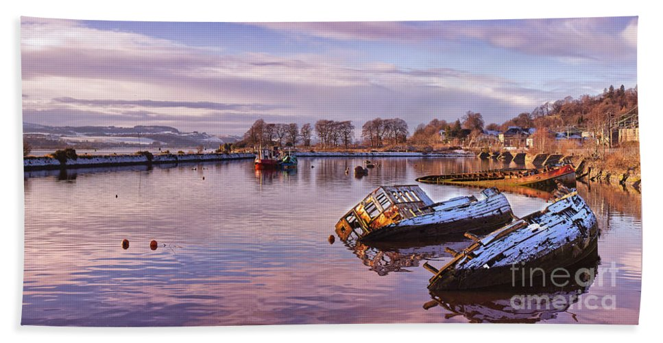 Bowling Bath Sheet featuring the photograph Bowling Harbour Panorama 02 by Antony McAulay