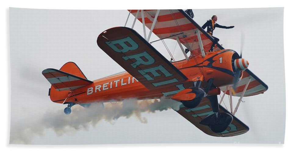 Breitling Bath Sheet featuring the photograph Breitling Wing Walkers by David Fowler