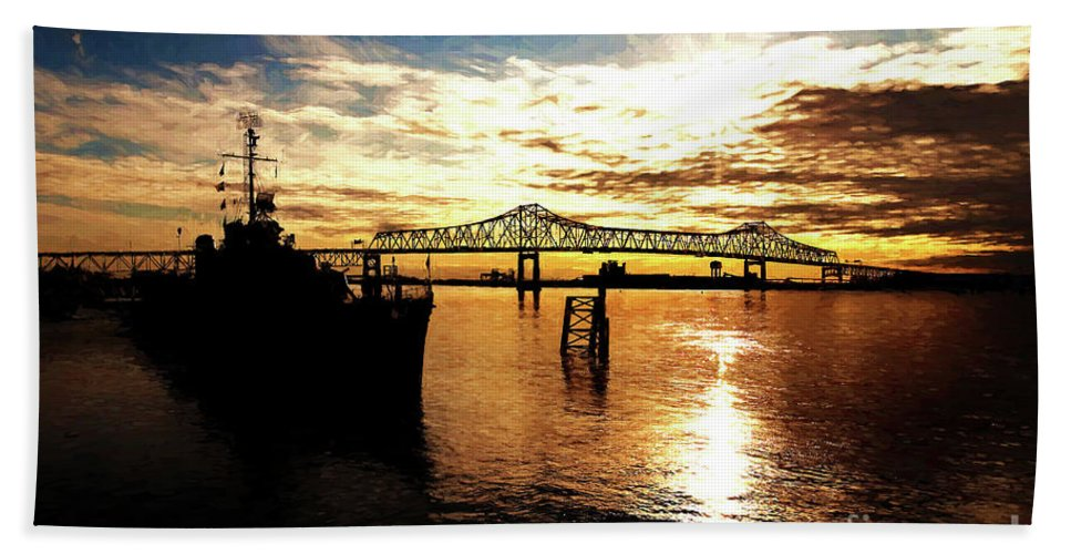 Black & White Bath Sheet featuring the photograph Bright Time On The River by Scott Pellegrin