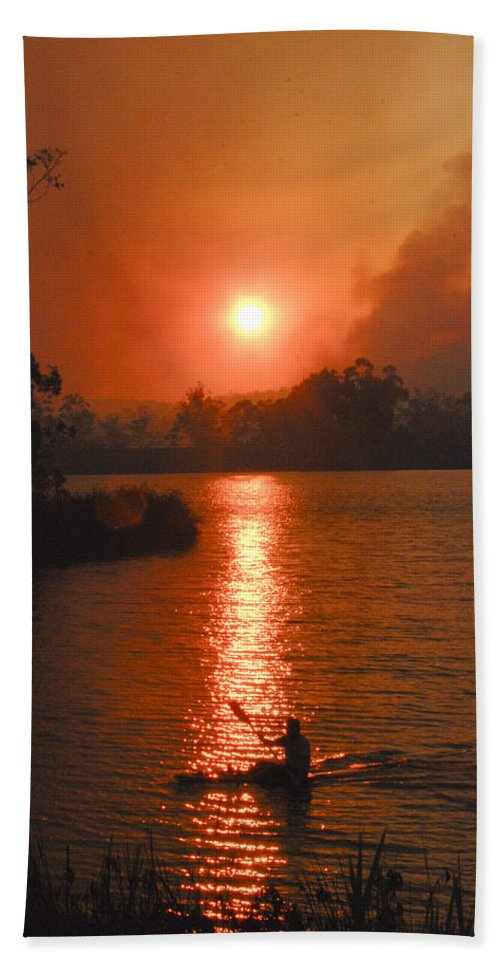 Australia Bath Sheet featuring the photograph Bushfire Sunset Over The Lake by Rodney Appleby