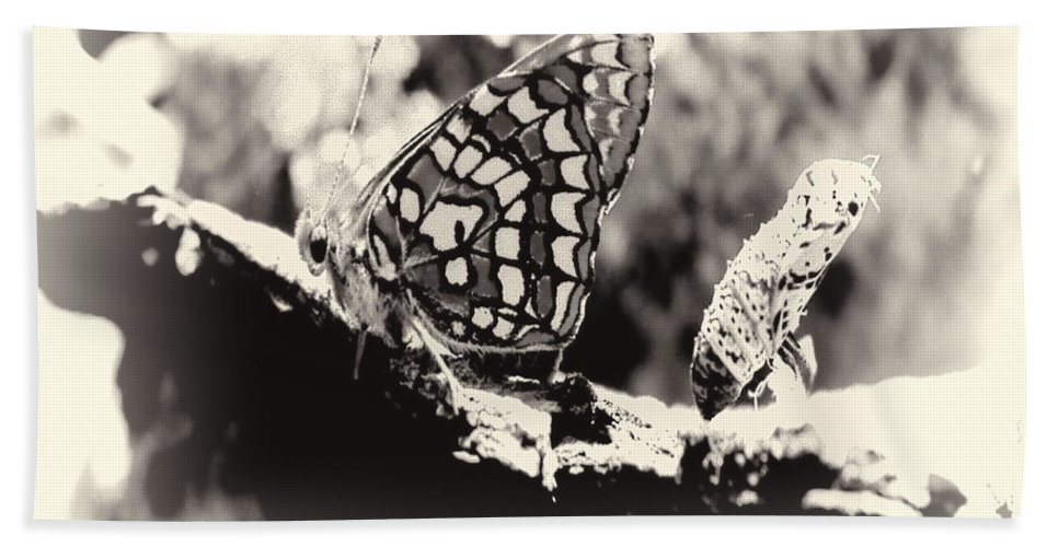 Bath Sheet featuring the digital art Butterfly In Black And White by Cathy Anderson