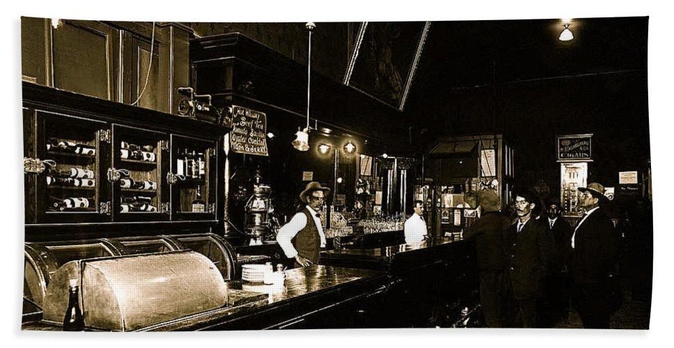 Cabinet Club Saloon 68 W. Congress Tucson Arizona C.1910 Bath Sheet featuring the photograph Cabinet Club Saloon 68 W. Congress Tucson Arizona C.1910-2008 by David Lee Guss