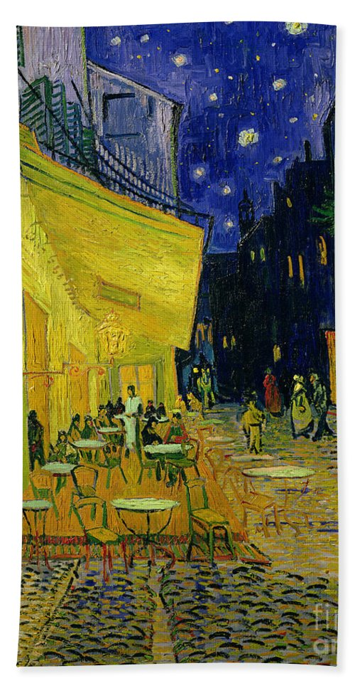 Cafe Terrace Bath Towel featuring the painting Cafe Terrace Arles by Vincent van Gogh