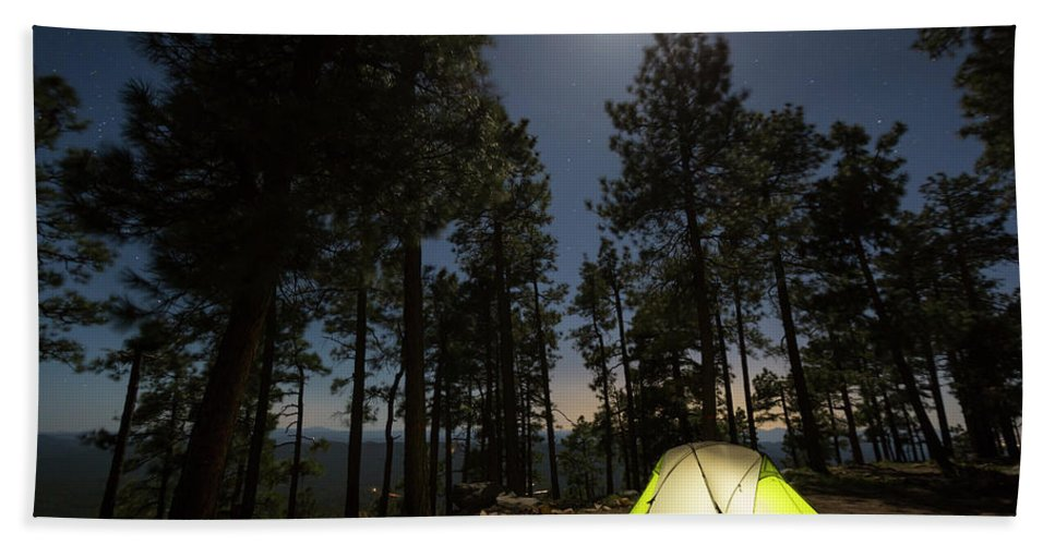 Illuminated Hand Towel featuring the photograph Camping On The Rim by Kyle Ledeboer