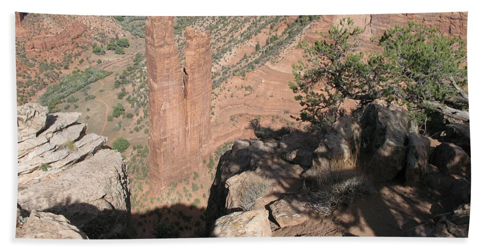 Canyon Bath Sheet featuring the photograph Canyon De Chelly Spider Rock by Christiane Schulze Art And Photography