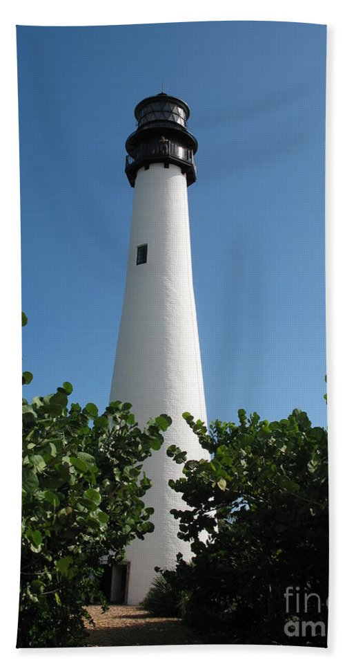 Lighthouse Hand Towel featuring the photograph Cape Florida Light by Christiane Schulze Art And Photography