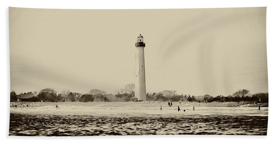 Cape Hand Towel featuring the photograph Cape May Lighthouse In Sepia by Bill Cannon