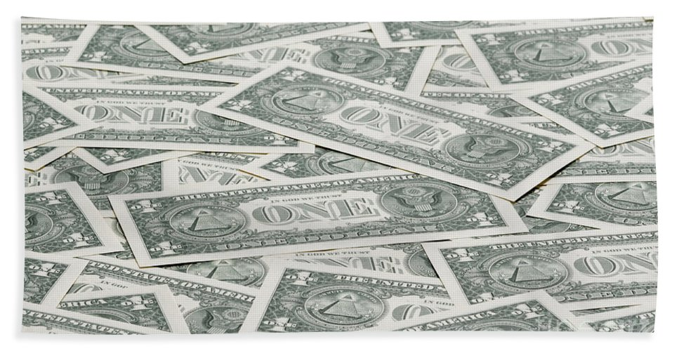 America Hand Towel featuring the photograph Carpet Of One Dollar Bills by Lee Avison