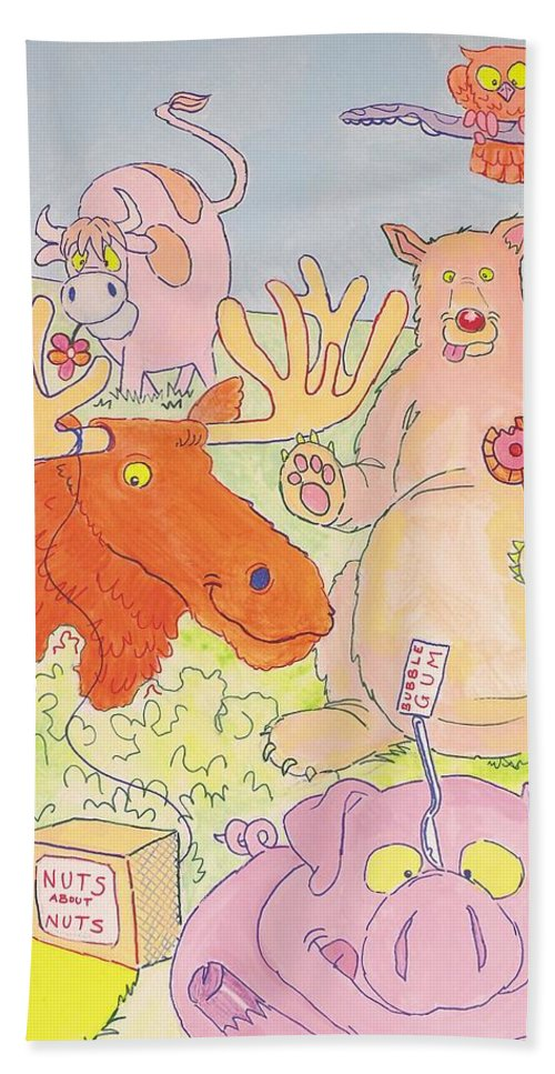 Moose Hand Towel featuring the painting Cartoon Animals by Mike Jory