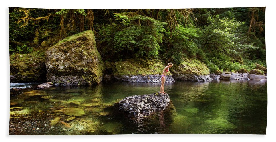 Side View Hand Towel featuring the photograph Cascade Locks, Oregon, Usa. A Woman by David Hanson