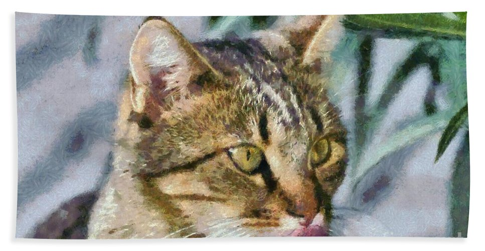 Cat; Cats; Feline; Tabby; Animal; Sit; Sitting; Rest; Resting; Free; Alone; Portrait; Face; Greece; Hellas; Greek; Hellenic; Athens; Attica; Attiki; Yellow; Eyes; Pink; Red; Tongue; Paint; Painting; Paintings Hand Towel featuring the painting Cat Portrait by George Atsametakis