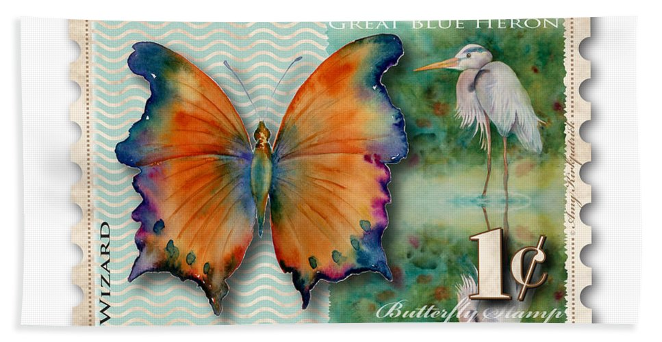 Wizard Hand Towel featuring the painting 1 Cent Butterfly Stamp by Amy Kirkpatrick