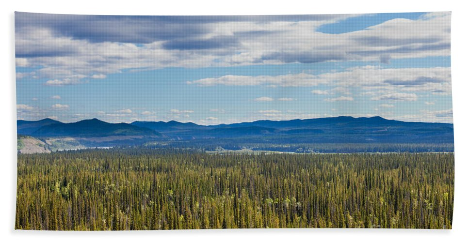 Adventure Hand Towel featuring the photograph Central Yukon T Canada Taiga And Ogilvie Mountains by Stephan Pietzko