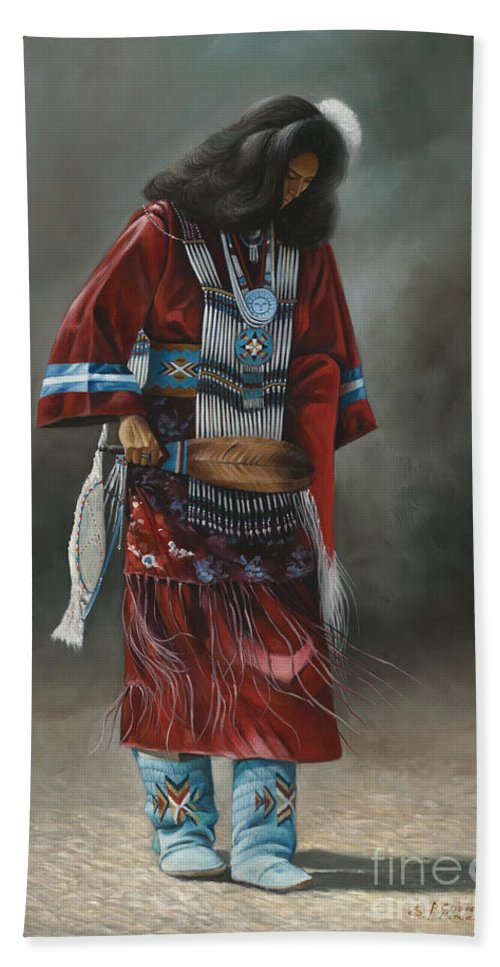Native-american Bath Sheet featuring the painting Ceremonial Red by Ricardo Chavez-Mendez