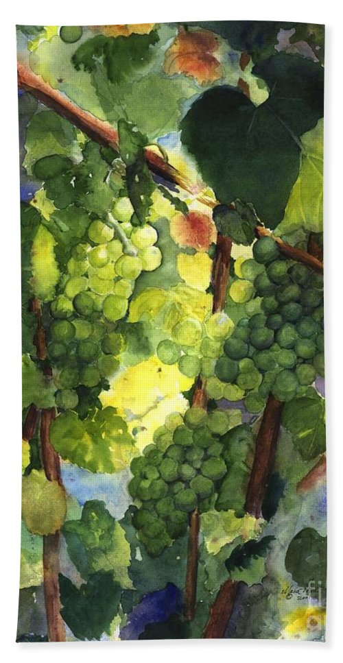 Green Grapes Hand Towel featuring the painting Chardonnay Au Soliel by Maria Hunt