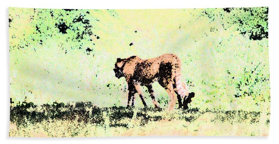 Cheetah Bath Towel featuring the digital art Cheetah by Steve Karol