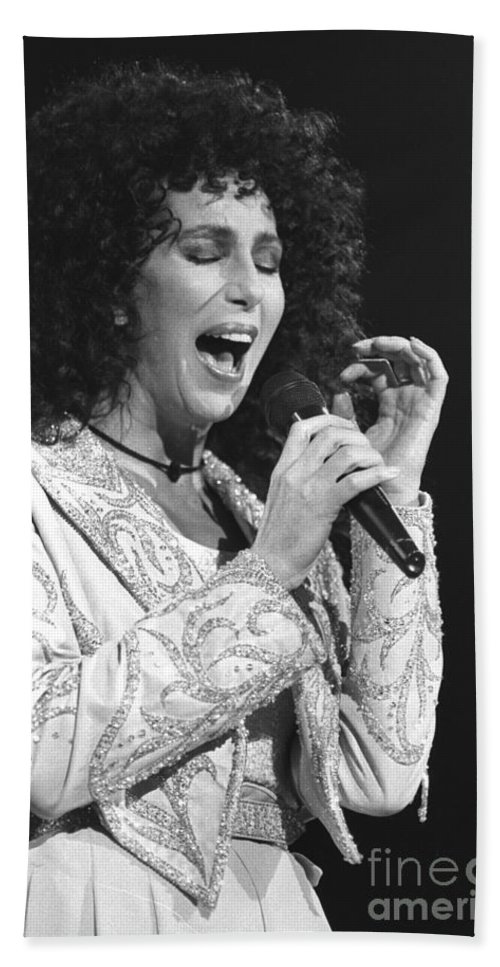 Cher Bath Sheet featuring the photograph Cher by Concert Photos
