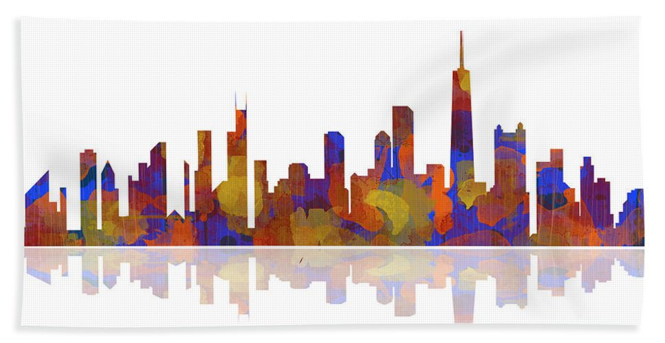 Watercolor Hand Towel featuring the digital art Chicago Illinois Skyline by Marlene Watson
