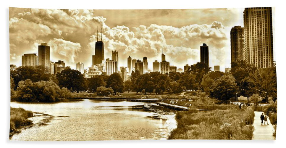 Chicago Bath Sheet featuring the photograph Chicago In Sepia by Frozen in Time Fine Art Photography