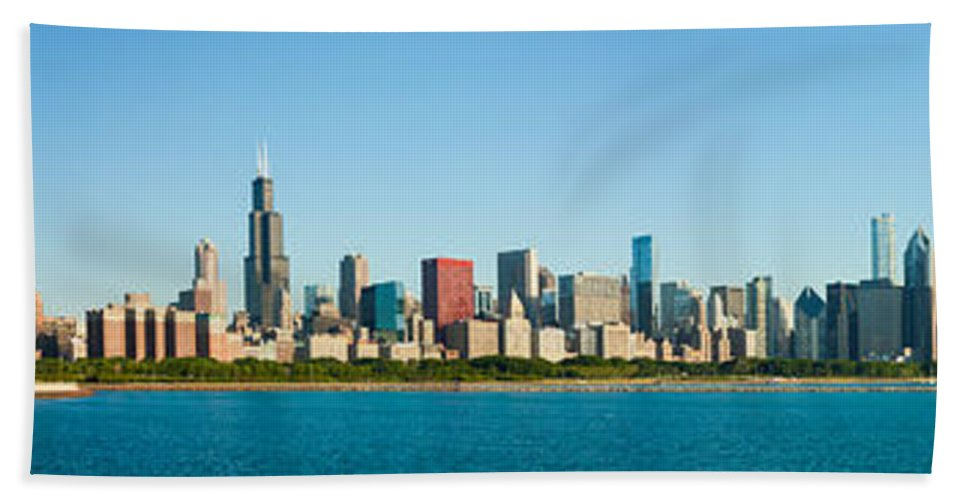 Chicago Skyline Bath Sheet featuring the photograph Chicago Lake Front by Semmick Photo