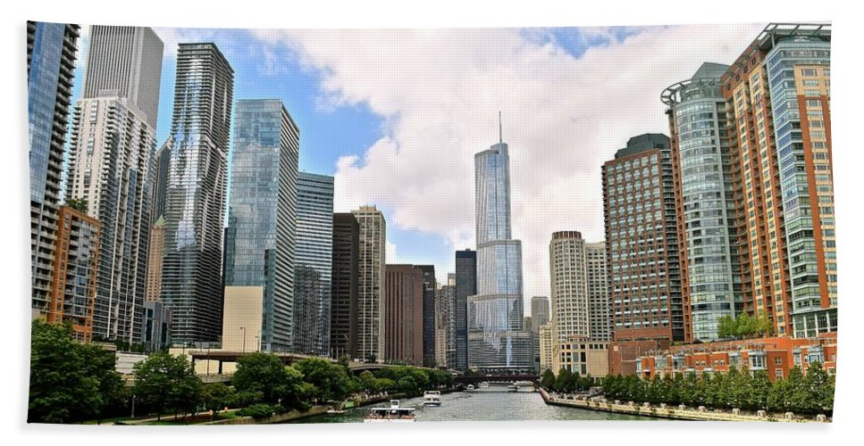 Chicago Hand Towel featuring the photograph Chicago Panorama by Frozen in Time Fine Art Photography