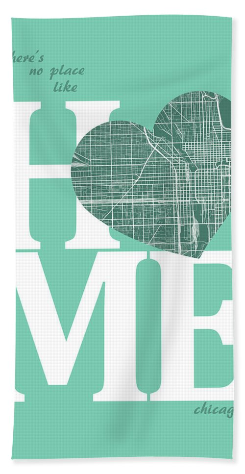 Road Map Bath Sheet featuring the digital art Chicago Street Map Home Heart - Chicago Illinois Road Map In A H by Jurq Studio
