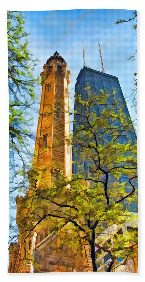 Chicago Water Tower Hand Towel featuring the painting Chicago Water And Hancock Towers by Christopher Arndt