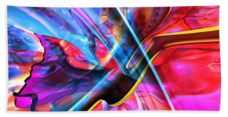 Abstract Hand Towel featuring the digital art Chixilube 78 by Zac AlleyWalker Lowing