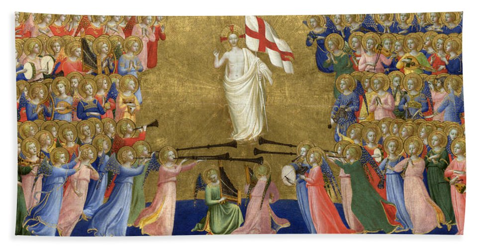 Fra Angelico Hand Towel featuring the painting Christ Glorified In The Court Of Heaven by Fra Angelico
