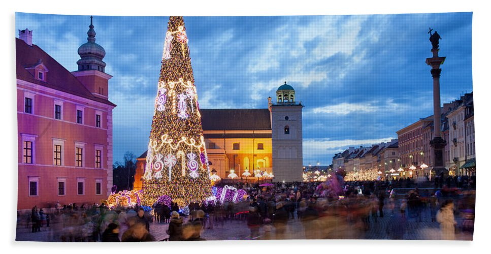 Poland Hand Towel featuring the photograph Christmas Time In Warsaw by Artur Bogacki