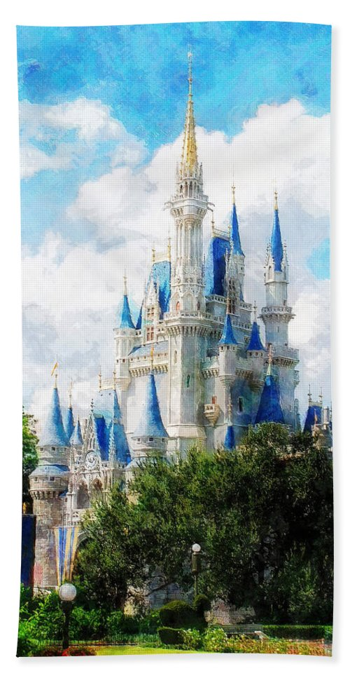 Castle Hand Towel featuring the painting Cinderella Castle by Sandy MacGowan