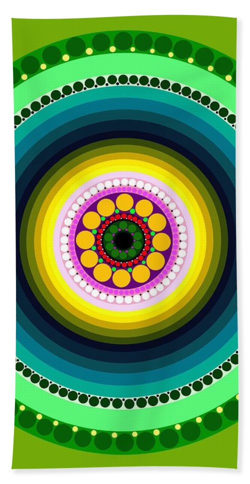 Art Bath Sheet featuring the painting Circle Motif 225 by John F Metcalf