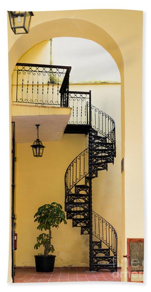 Circular Bath Sheet featuring the photograph Circular Staircase by Les Palenik