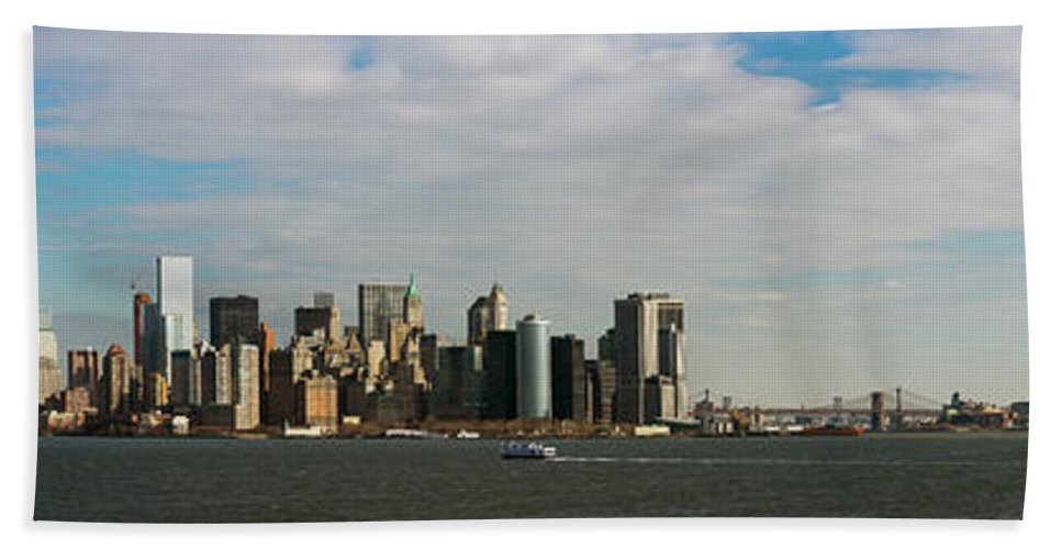 Photography Bath Sheet featuring the photograph City At The Waterfront, New York City by Panoramic Images