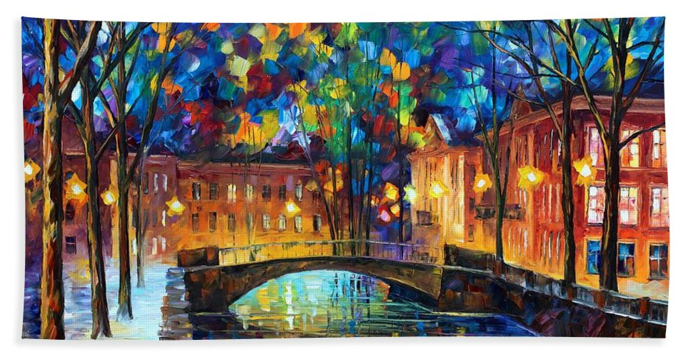 Afremov Hand Towel featuring the painting City Bridge by Leonid Afremov