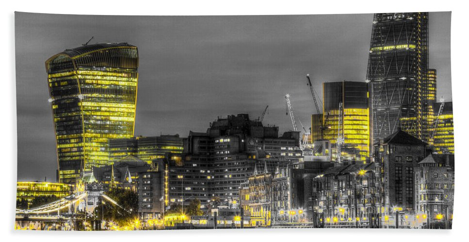 Cheesegrater Bath Sheet featuring the photograph City Of London At Night by David Pyatt