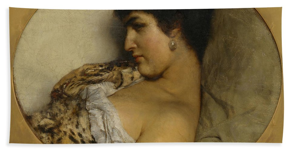 Lawrence Alma-tadema Hand Towel featuring the painting Cleopatra by Lawrence Alma-Tadema