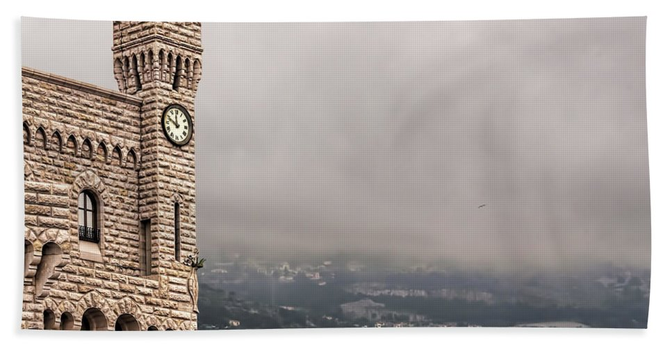 Architecture Hand Towel featuring the photograph Clock Tower by Maria Coulson