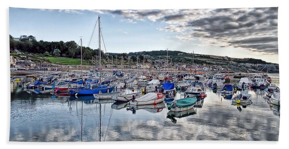 Lyme-regis Bath Sheet featuring the photograph Cloudy Morning - Lyme Regis Harbour by Susie Peek