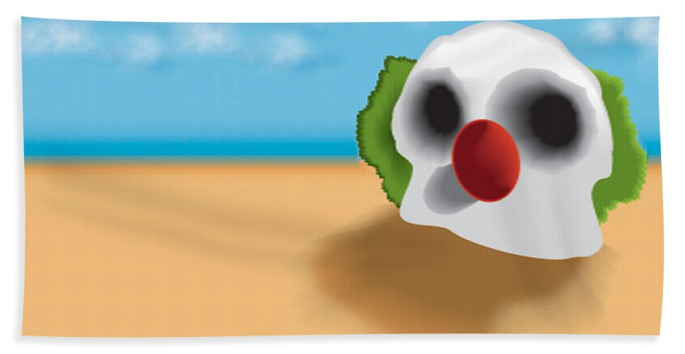 Skull Hand Towel featuring the digital art Clown Skull In The Desert by Del Gaizo