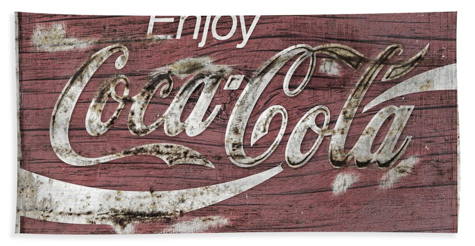 Coca Cola Bath Sheet featuring the photograph Coca Cola Pink Grunge Sign by John Stephens