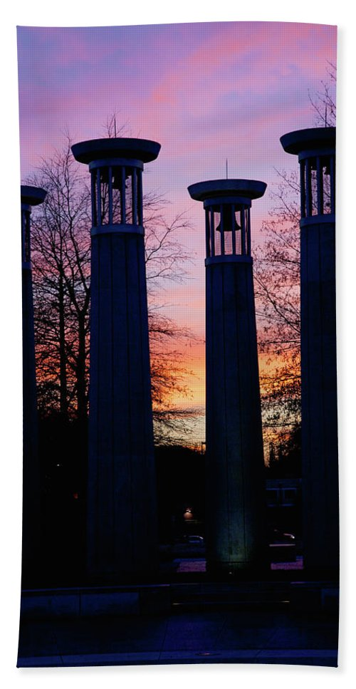Photography Bath Sheet featuring the photograph Colonnade In A Park At Sunset, 95 Bell by Panoramic Images