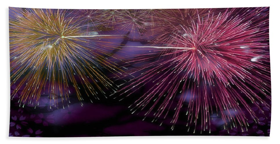 Firework Hand Towel featuring the digital art Colorful Fireworks by Jeelan Clark