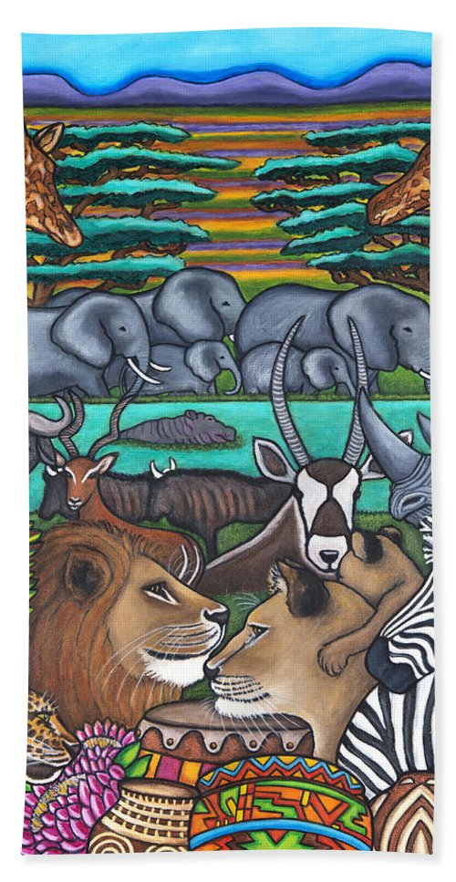 Africa Bath Sheet featuring the painting Colours of Africa by Lisa Lorenz