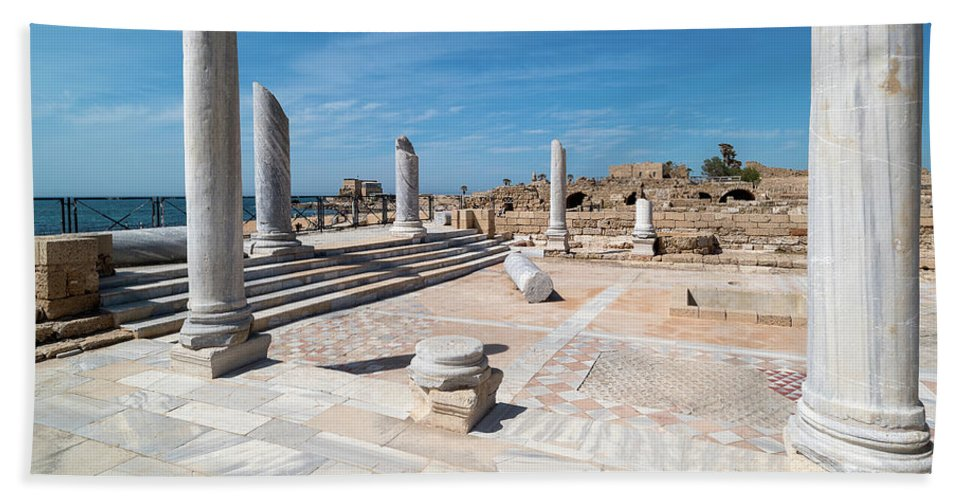 Photography Bath Sheet featuring the photograph Columns In Archaeological Site by Panoramic Images
