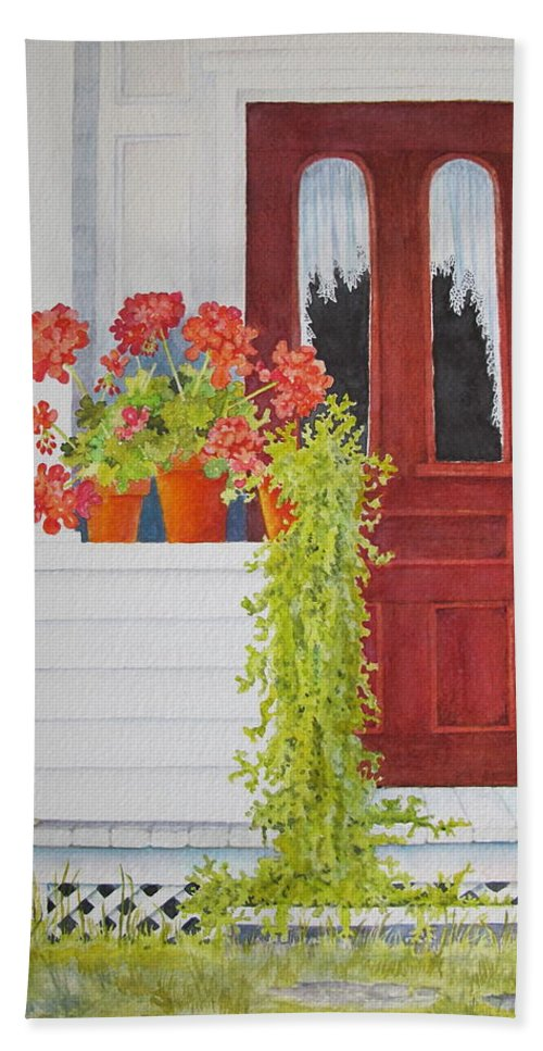 Door Hand Towel featuring the painting Come On In by Mary Ellen Mueller Legault