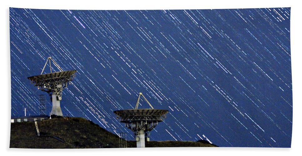 Communications; Antennas; Sky; Skyscape; Stars; Satellite; Communication Dish; Astronomy; Long Exposures; Nature Photography; Nature; For Sale; Buy Prints; Galleries; Stock Photos; Gallery; Decorative; Striking; Landscape; Scenic; Stock Images; Fine Art; Insogna; Wall Art; Photography; Posters; James Insogna; Bo Insogna; Striking Photography; The ; Office Wall Art; Commercial Art; Framed Art; Office Art; Framed Posters; Framed Art Prints; Wall Art; Motivational Prints;  Bath Sheet featuring the photograph Communications To The Stars by James BO Insogna
